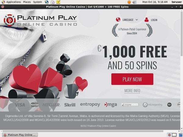 Platinum Play Inscrivez-vous