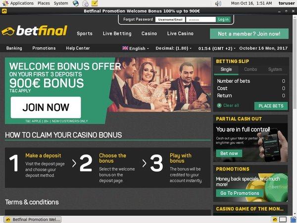 Betfinal Bonuscode