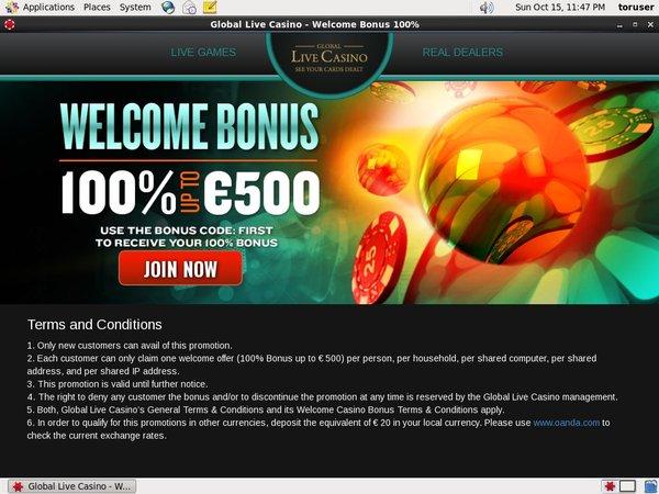 Global Live Casino Create Account